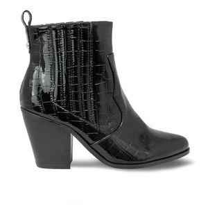 Women's Black Crocodile Chunky Heel Ankle Booties